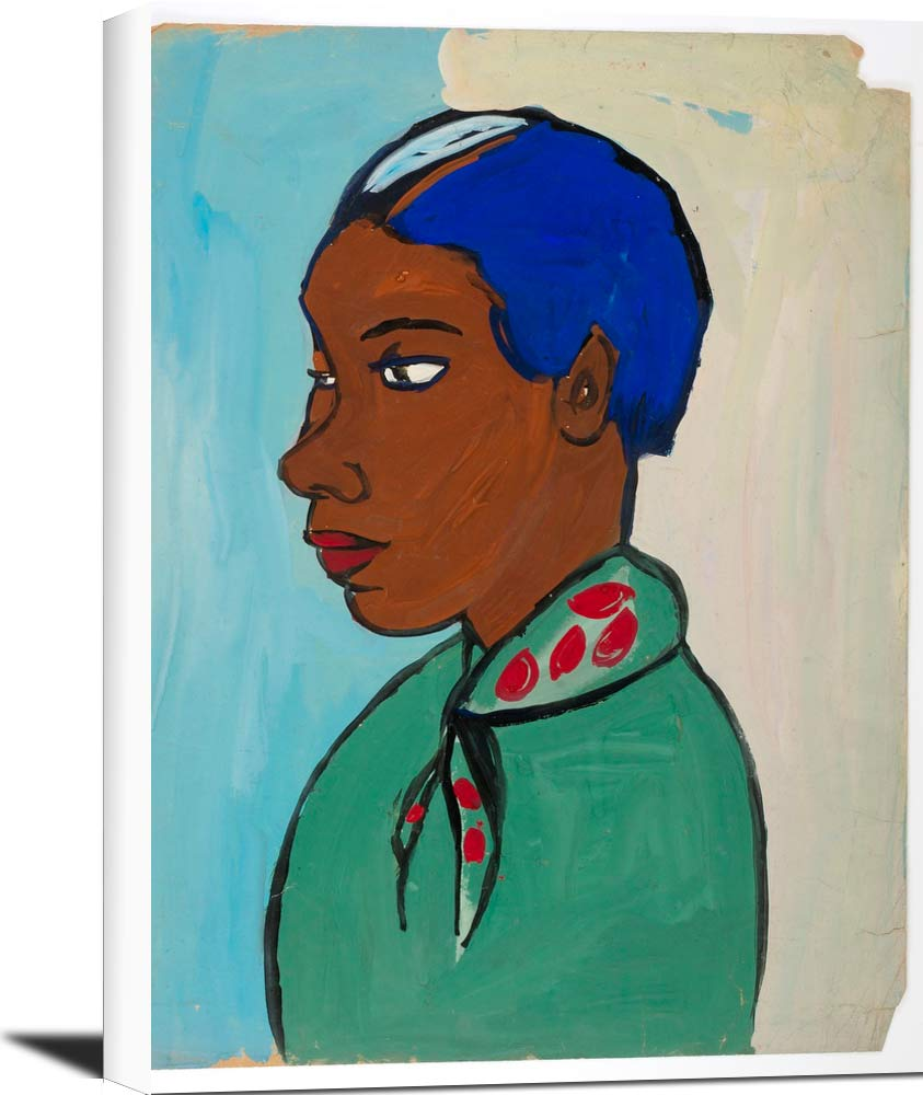 Bust Of Woman With Blue Hair And Green And Red Scarf William H Johnson