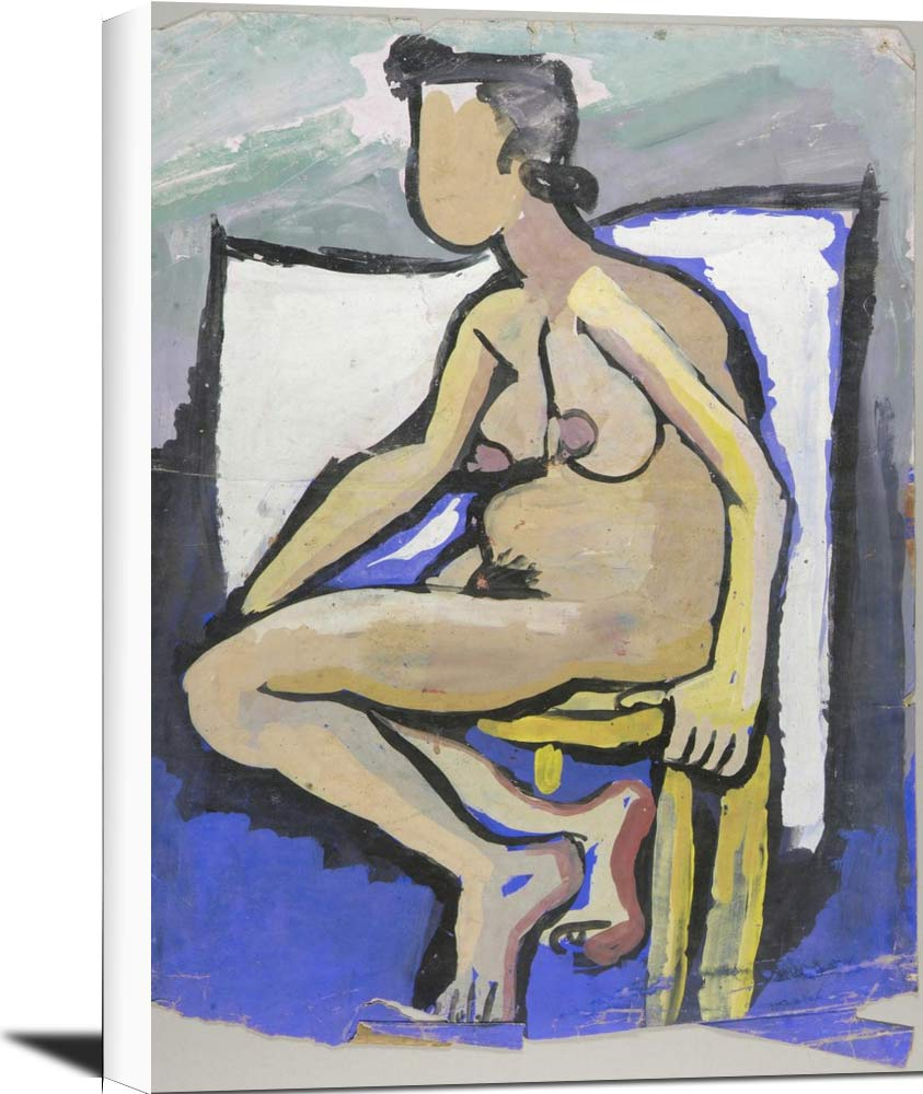 Seated Female Nude In Profile William H Johnson