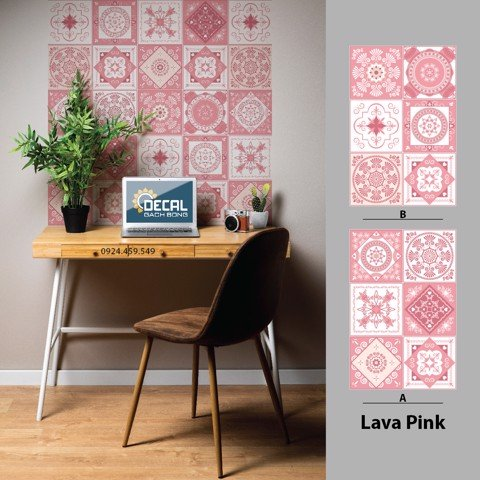 Decal gạch bông UV Lava Pink
