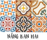 Decal gạch bông Nắng Ban Mai - Brown Orange Color