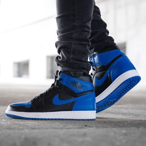 JORDAN 1 MID HYPER ROYAL TUMBLED LEATHER 554724 077