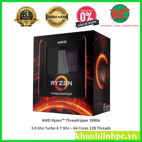 AMD Ryzen Threadripper 3990X 64C/128T UPTO 4.3GHz Box chính hãng