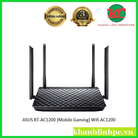 ASUS RT-AC1200 (Mobile Gaming) Wifi AC1200 2 băng tần, Parental Control, 4 anten