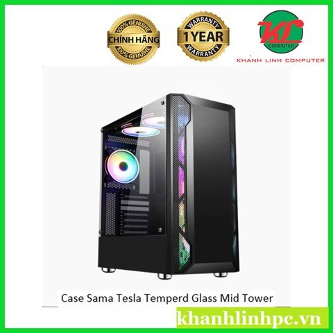 Case Sama Tesla side temperd glass mid tower gaming case (kèm 3FAN 12CM