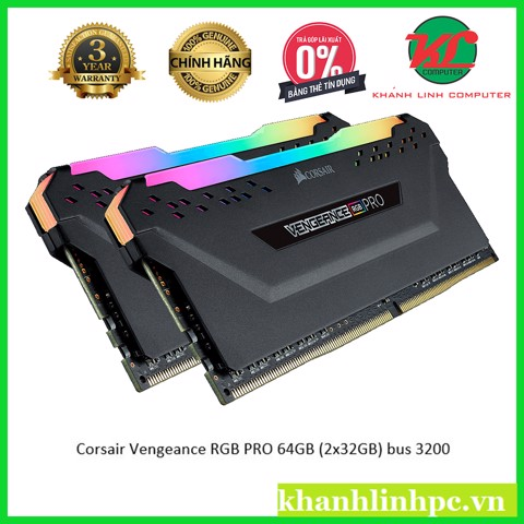 RAM DDR4 Corsair Vengeance RGB PRO 64GB (2x32GB) bus 3200