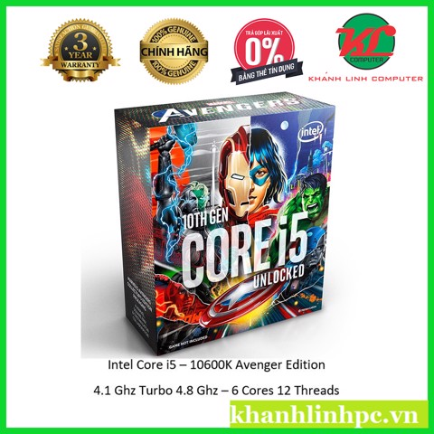 INTEL Core i5 10600K Avengers Edition (6C/12T, 4.1 - 4.80 GHz, 12MB) - socket 1200 Box chính hãng