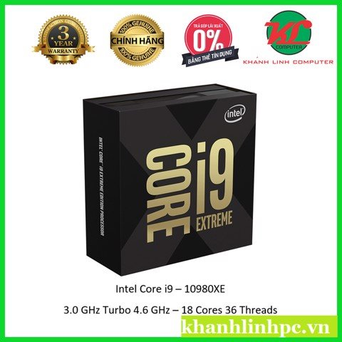 CPU Intel Core i9 10980XE 3.0Ghz Turbo 4.6Ghz / 24.75MB / 18 Cores, 36 Threads