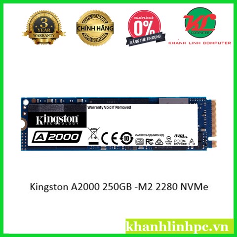 Kingston A2000 250GB -M2 2280 NVMe – PCIe Gen 3.0 X 4 SSD