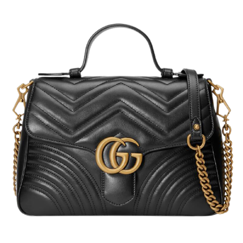 tui gucci black leather gg marmont small top handle bag 498110 dtdit 1000