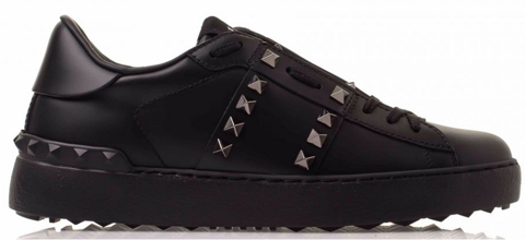 giay valentino rockstud untitled noir calfskin leather sneaker uw2s0a01 bxe 0no