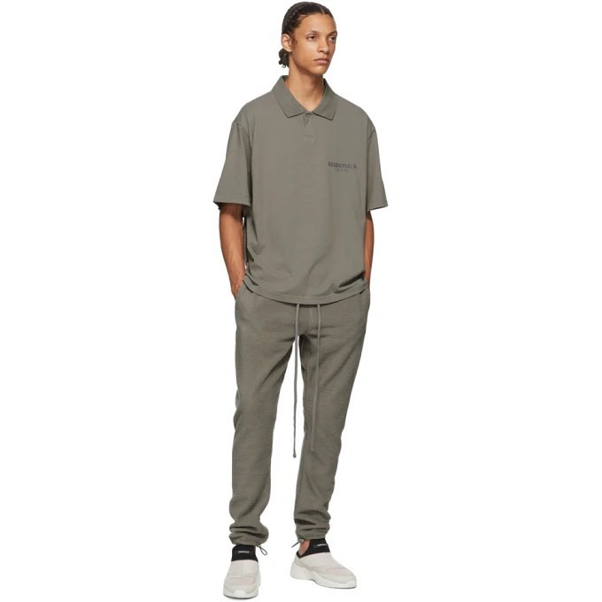 Áo Fear Of God Essentials Short Sleeve Boxy Polo Gray Flannel Charcoal FOG-ESSSBPGC