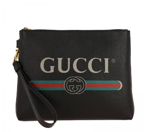 tui gucci black leather print clutch 572770 0y2at 8163