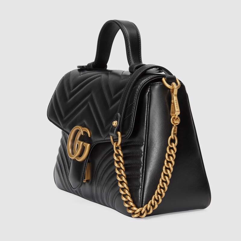 Túi Gucci Black Leather GG Marmont Small Top Handle Bag 498110 DTDIT 1000