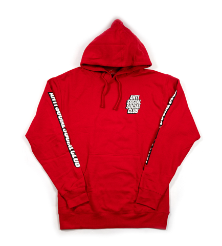 ao anti social social club block me red hoodie assc94