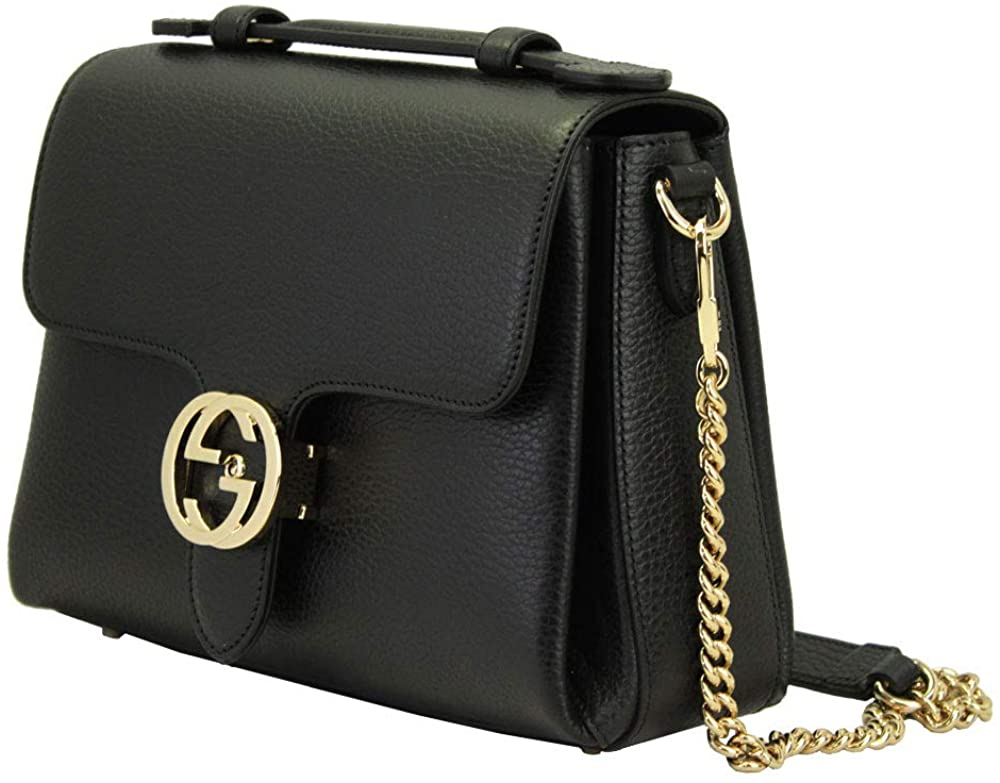 Túi Gucci Interlocking G Black Leather Chain Shoulder Bag 510302 CAOOG 1000