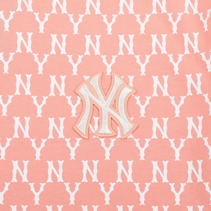 Áo MLB Monogram All Over Over Fit Short Sleeve Pink 31TSM1131-50P