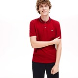 Áo Lacoste Polo Striped Accents Cotton Pique Bordeaux PH8522-00-Z1Q