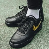 Nike Air Force 1 Black Metallic Gold Removable Swoosh Pack AR7446-001