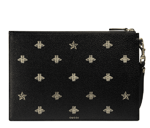 tui gucci bee star leather pouch black 495066 dj2kt 8474