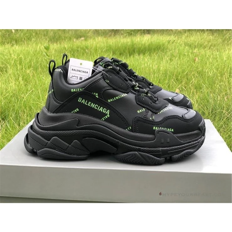 Giày Balenciaga Triple S Sneaker Allover Logo Black Fluo Yellow 536737 W2FA1 1070