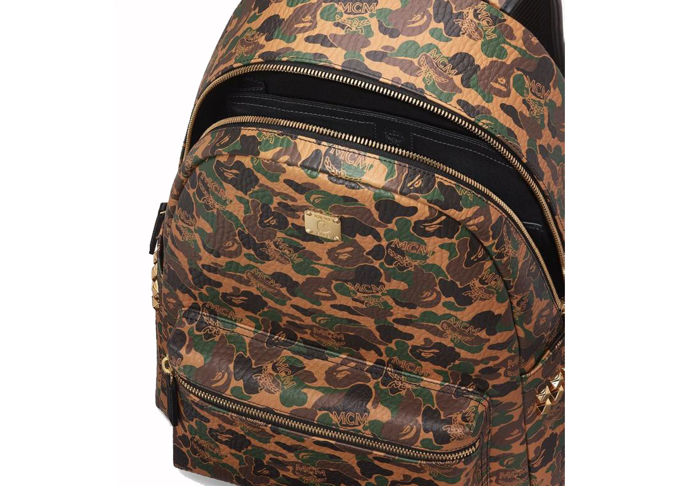 Balo Mcm x Bape Stark Backpack Medium Visetos Camo in Coated Canvas with 24k Gold Plated