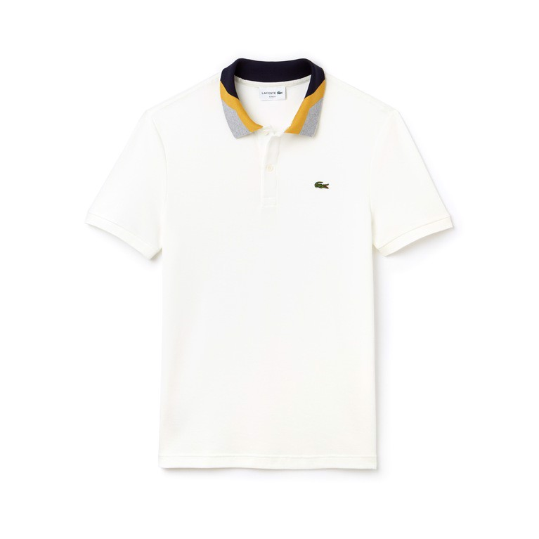 Lacoste Slim Fit Colourblock Striped Knop Piqué Polo Shirt