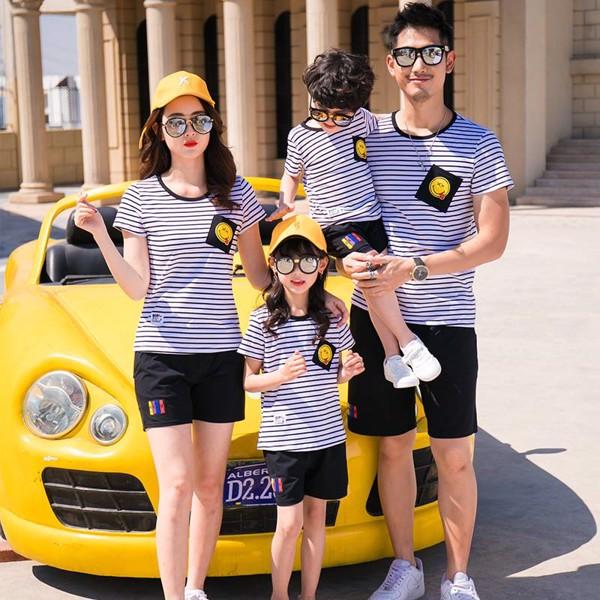 áo gia đình kẻ sọc ngang phối đen - trắng đẹp