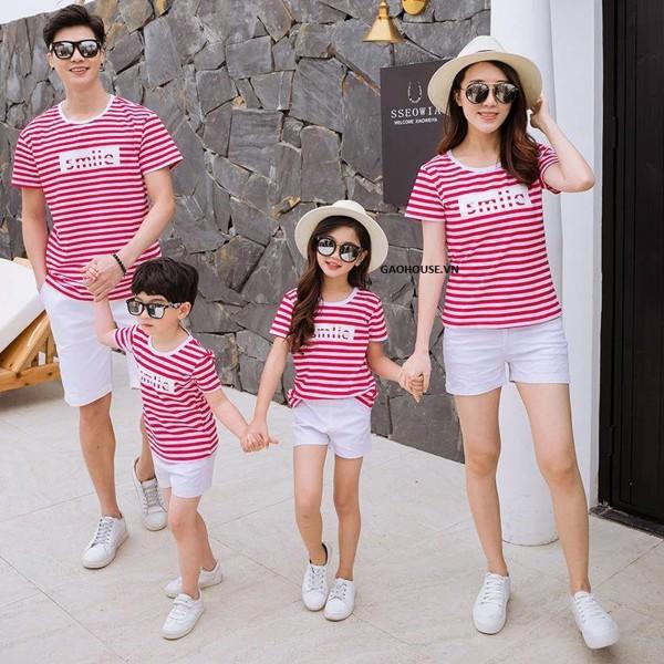 áo gia đình kẻ ngang 4 người