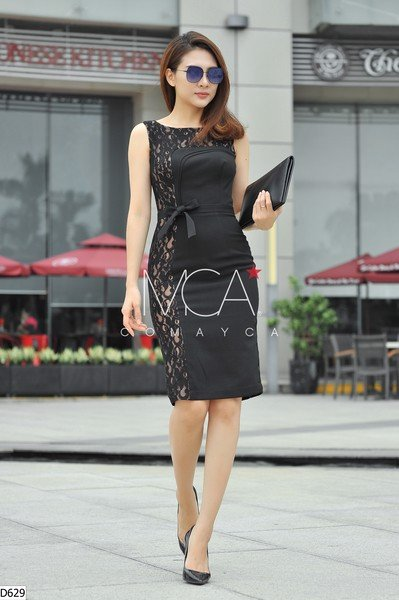 BELTED ONE SIDE LACE DRESS - D629