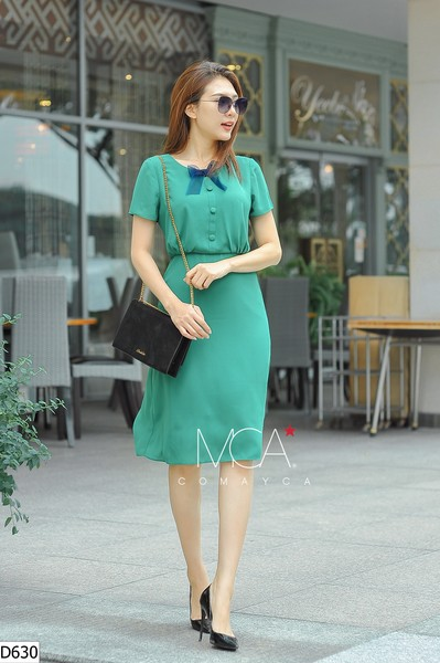 OGANZA FRONT RIBBON COLLAR DRESS-D630
