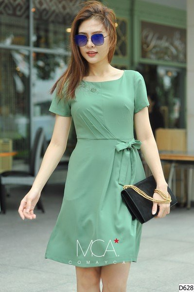 SELF-TIE WRAP T-SHIRT DRESS WITH EMBROIDERED COLLAR- D628