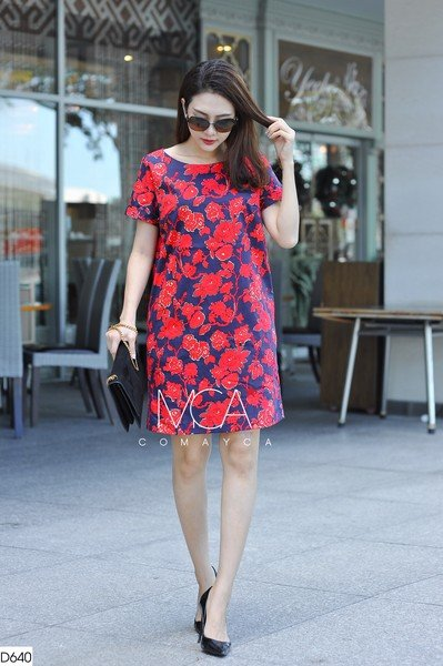 FLORAL-PRINT KAKI TUNIC DRESS-D640