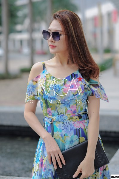 COLD-SHOULDER FLORAL-PRINT RUFFLED DRESS - D620