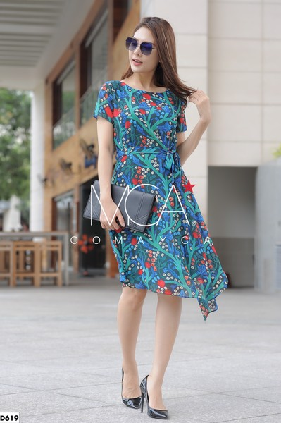 ASYMMETRICAL SILK DRESS-D619