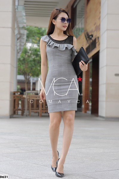 RUCHED STRETCH-COTTON JERSEY DRESS - D621