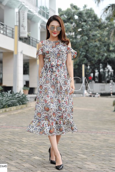 COLE-SHOULDER FLORAL-PRINT SILK-GEORGETTE MAXI DRESS-D645