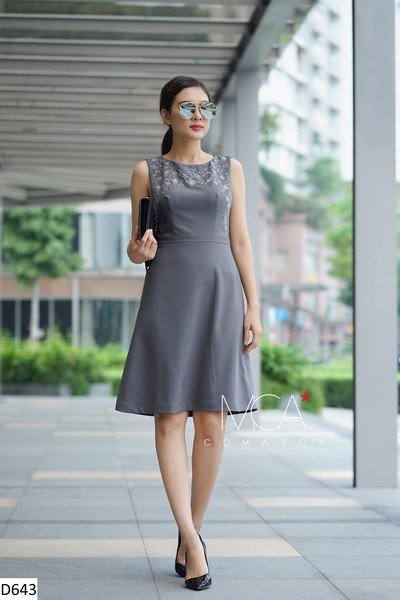 FLOWER EMBROIDERED DRESS-D643