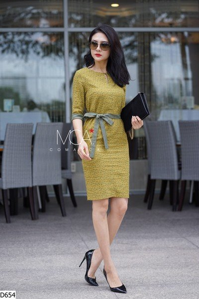 ONE SIDE RIBBON BELTED DRESS-D654