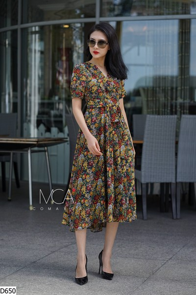 FLORAL-PRINT WRAP MAXI DRESS WITH SLVEEVES-D650