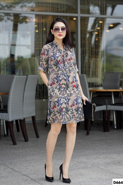 FLORAL-PRINT FRONT RIBBON COLLAR TUNIC DRESS-D664