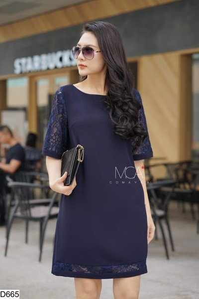 LACE SLEEVES TUNIC DRESS-D665