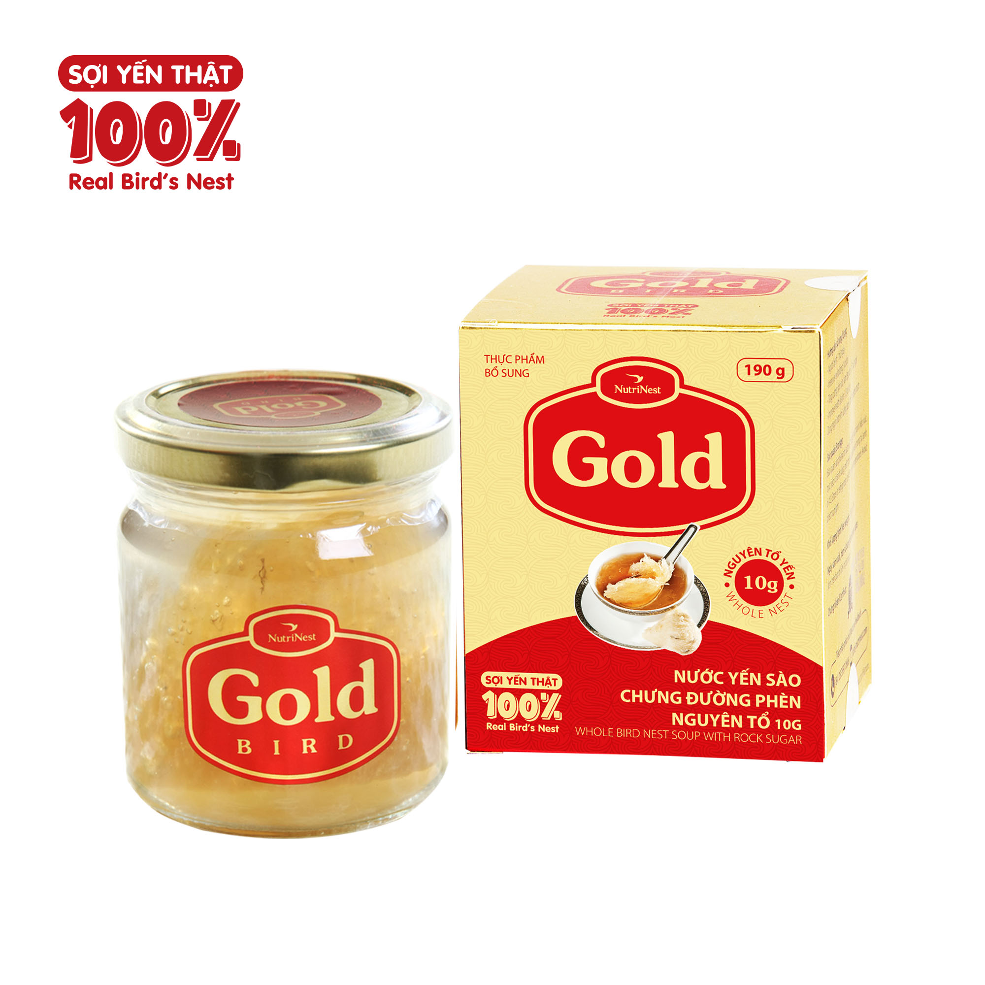 Gold - Nước Yến Sào Nguyên Tổ Chưng Đường Phèn - Hũ Đơn (190g)