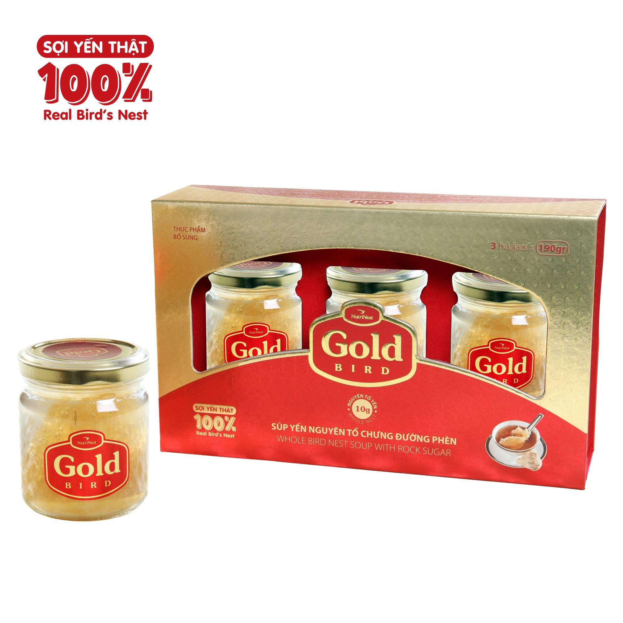 Hộp Quà Gold - Nước Yến Sào Nguyên Tổ Chưng Đường Phèn - (3 hũ*190g)