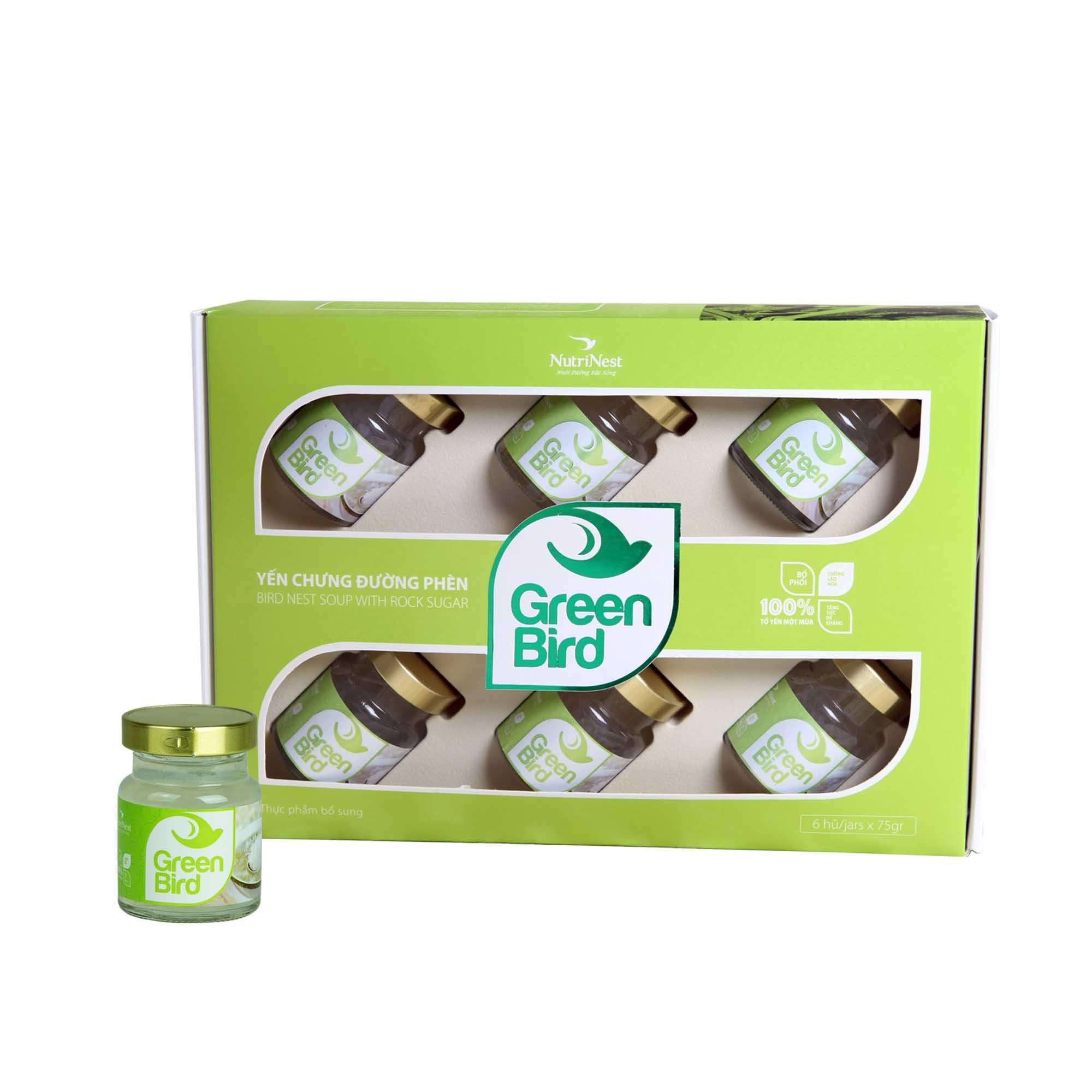 Green Bird - Bird's Nest Soup With Rock Sugar - Gift box 6 jars x 72gr