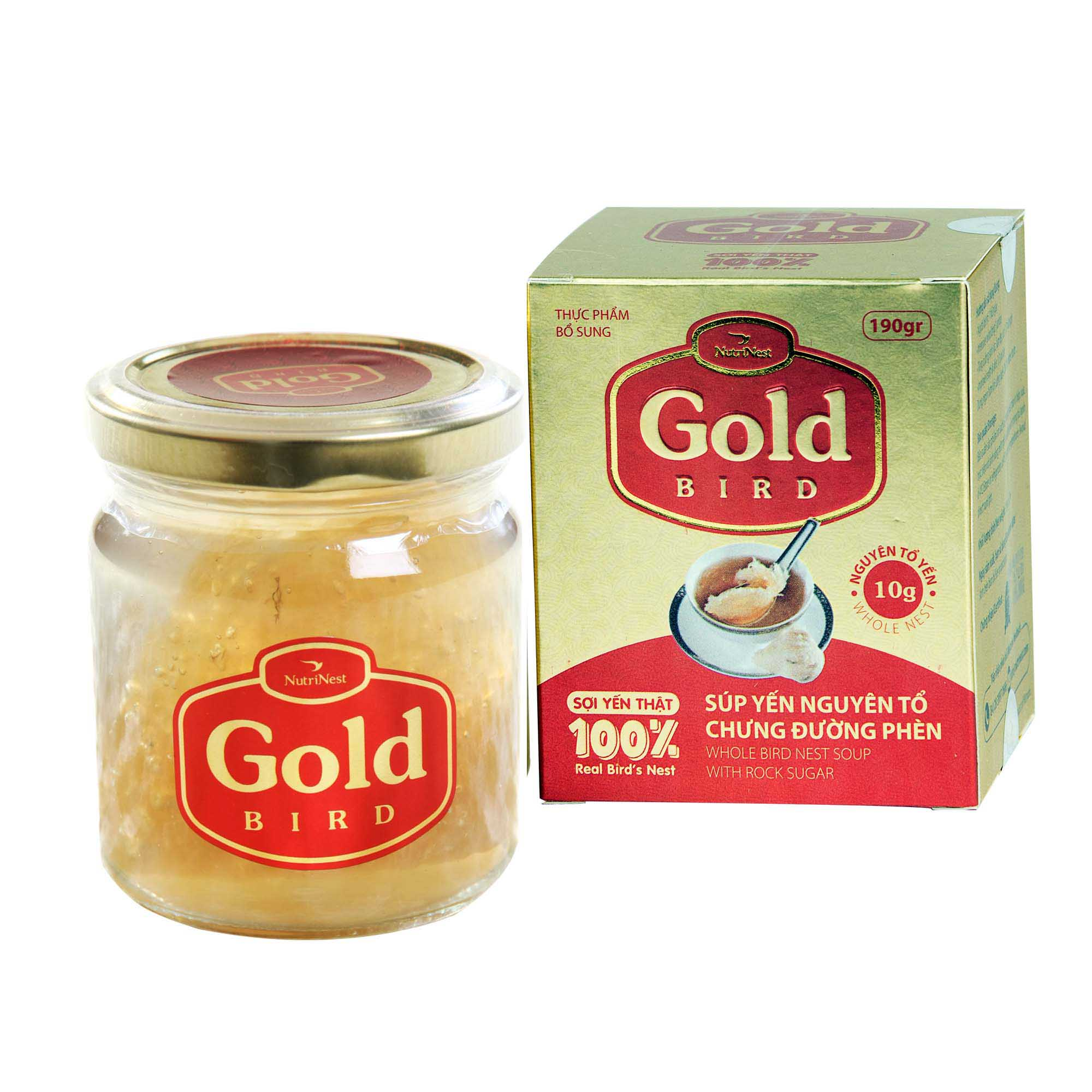 Gold Bird  - Whole bird's nest with rock sugar – Jar 190gr
