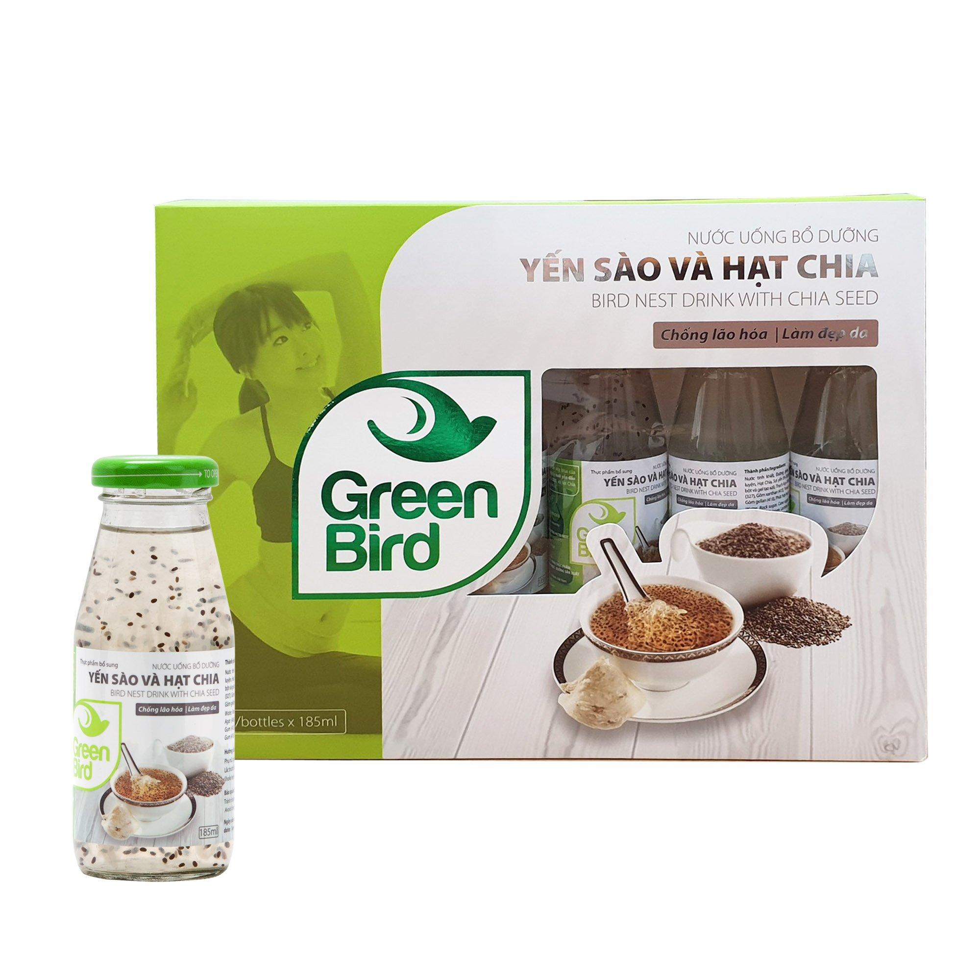 Hộp quà Green Bird - Nước Uống Bổ Dưỡng Yến Sào và Hạt Chia - (6 chai*185ml)