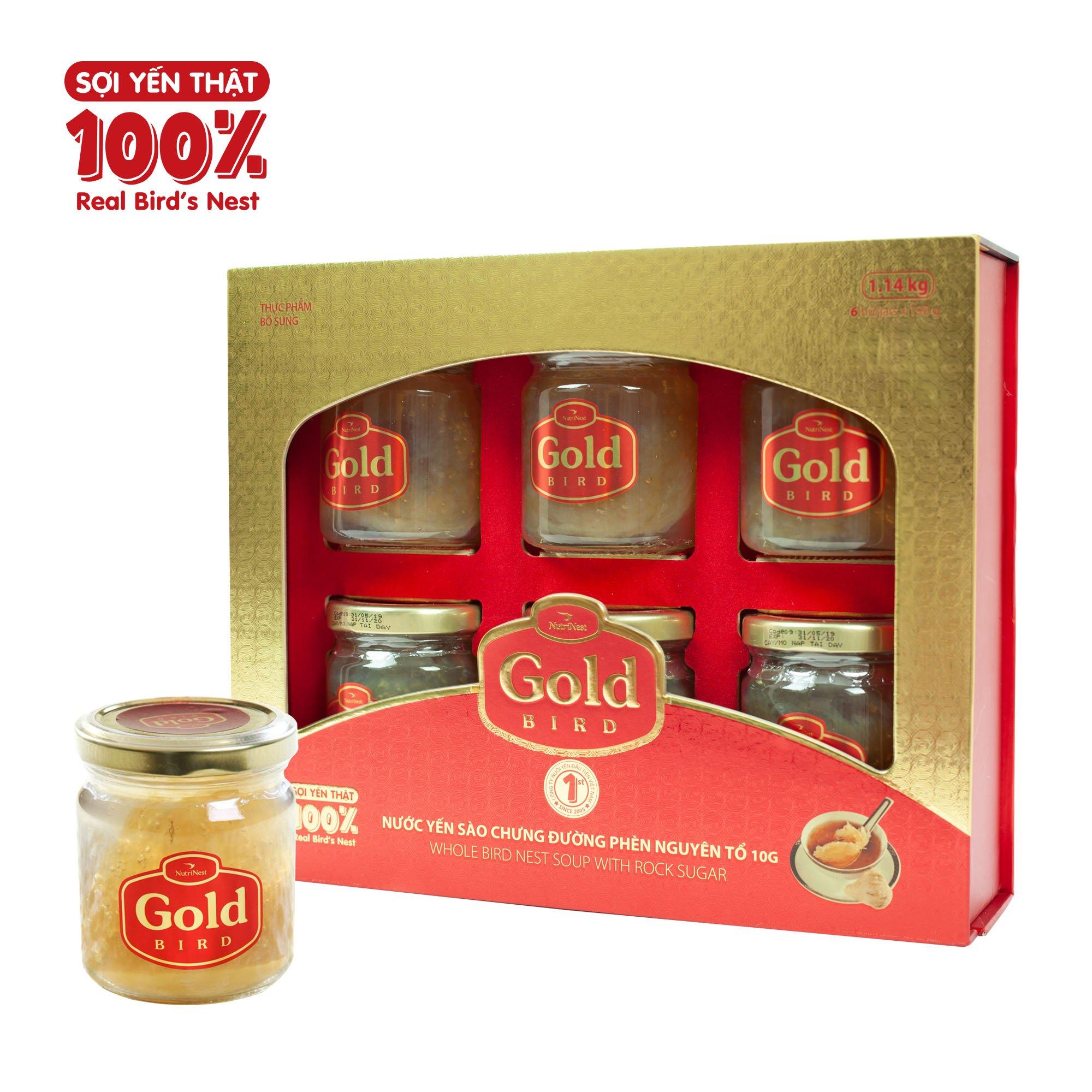 Hộp Quà Gold - Nước Yến Sào Nguyên Tổ Chưng Đường Phèn - (6 hũ*190g)