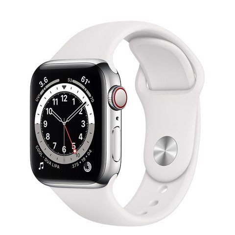 Apple Watch Series 6 GPS+Cellular 44mm (Silver Stainless Steel Case - White Sport Band)- Đang có hàng