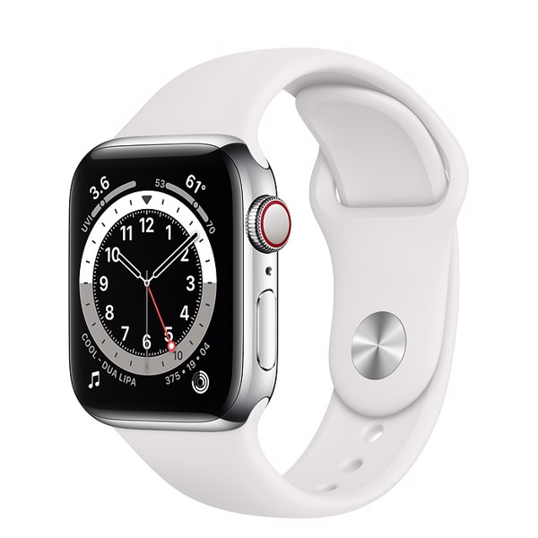 Apple Watch Series 6 GPS+Cellular 40mm (Silver Stainless Steel Case - White Sport Band)- Đang có hàng