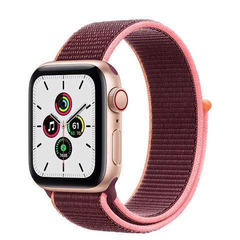 Apple Watch SE GPS+Cellular 44mm (Gold Aluminium Case - Plum Sport Loop)- Đang có hàng